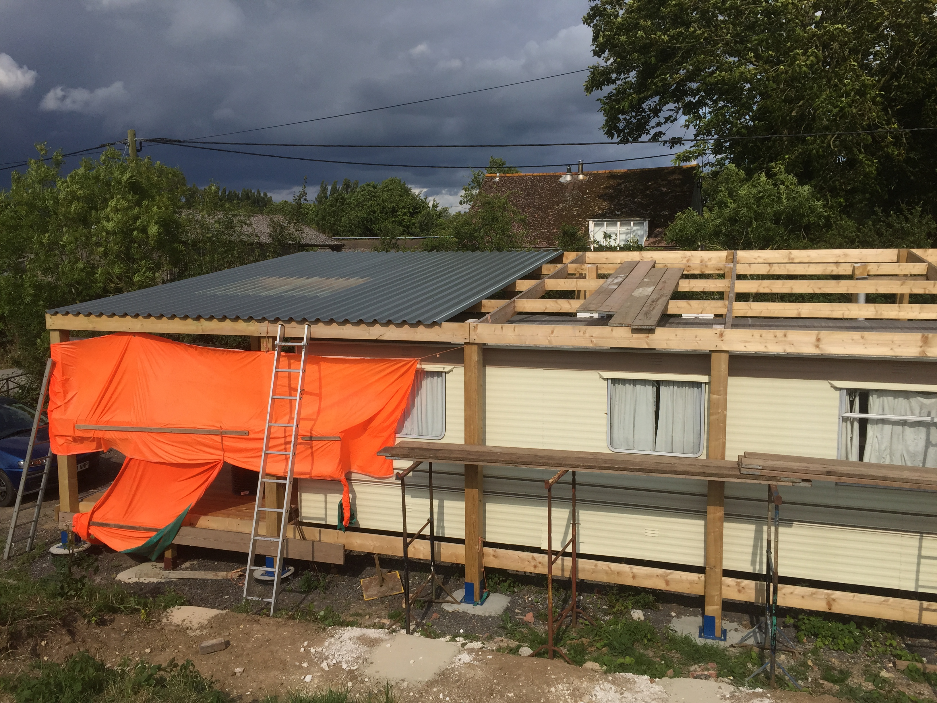 a fantastic example of timberwork construction of a frame to house a mobile home - Mobile Home Frame